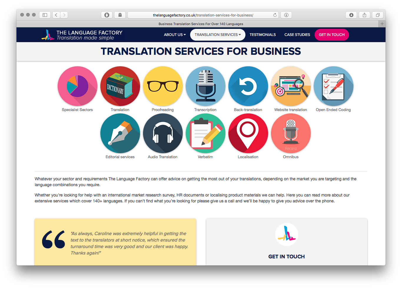 The Language Factory translation services page