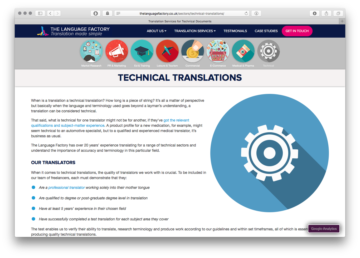 The Language Factory translation basic page design