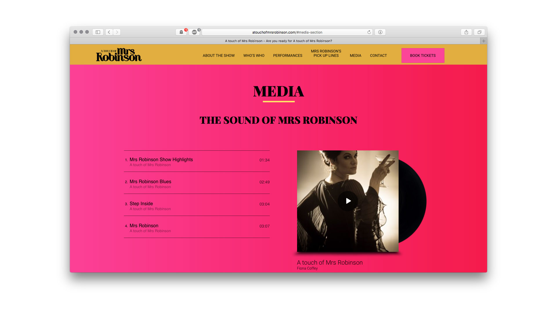 A Touch of Mrs Robinson media page Artballs Design