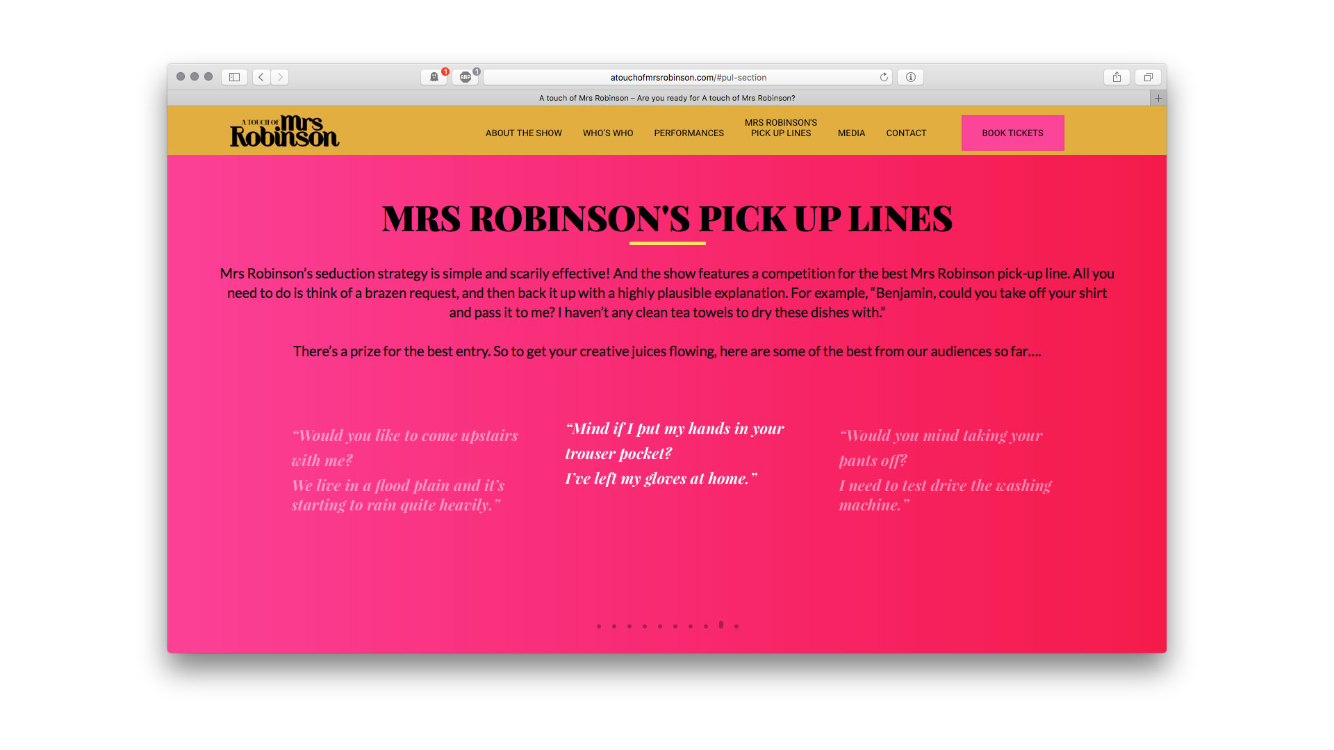 A Touch of Mrs Robinson pick up lines page Artballs Design